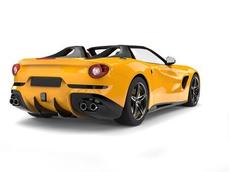 Heldergele cabriosportwagen - achtermening