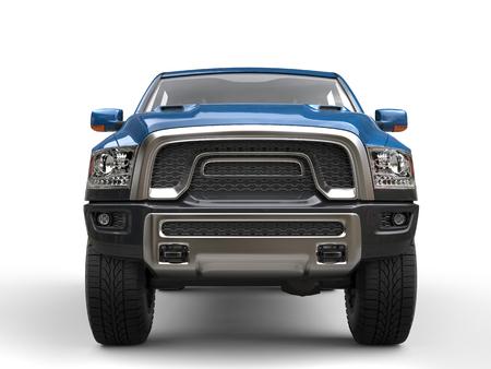 Moderne krachtige blauwe oogstvrachtwagen - het schot van de vooraanzichtclose-up