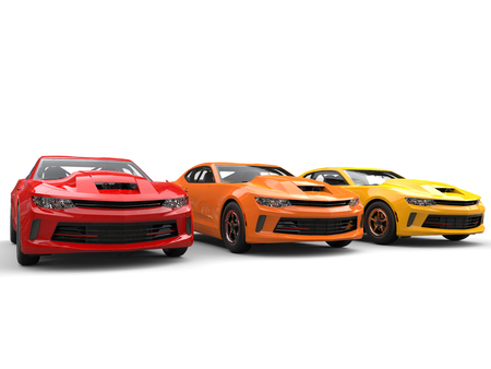Modern muscle cars in warm colors