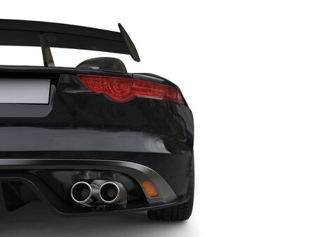 Black fast super sports car - rear wing closeup shot