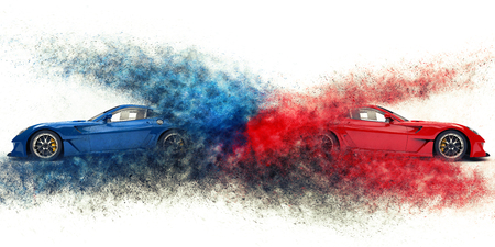 Red and blue awesome sports cars - particle explosion