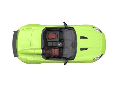 Fast modern crazy green convertible sports car - top view Stock Photo