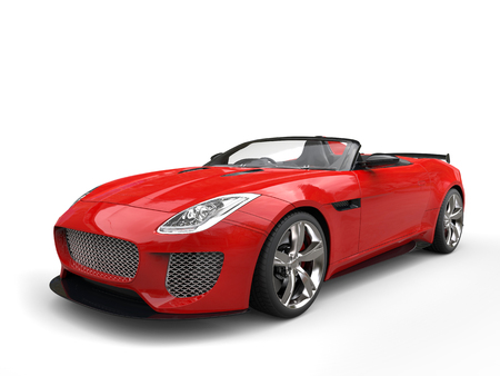 Modern fast raging red convertible super sports car
