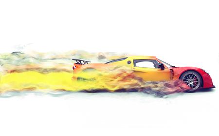 スーパー レース車 - 煙トレイル効果 写真素材