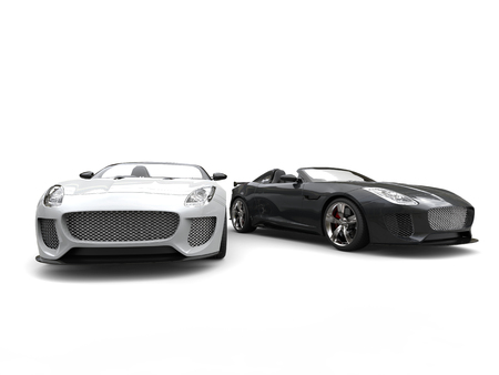 Extraordinary black and white modern convertible sports cars - side by side
