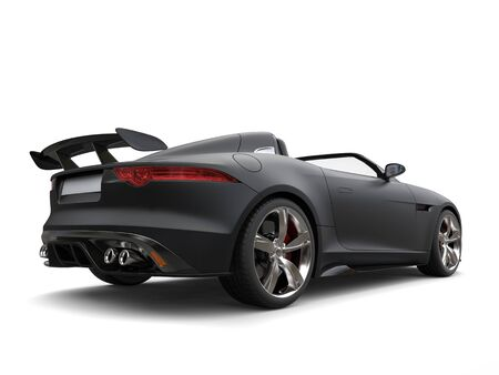 Stunning matte jet black modern convertible sports car - back view