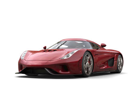 Metallic red modern super race car - studio shot