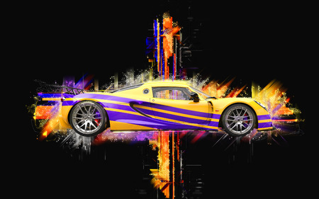 stipes: Breathtaking yellow supercar with purple stipes - abstract 3D illustration Stock Photo