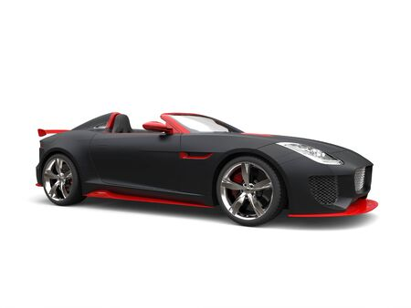 Awesome matte black super sports car with red details - beauty shot Stock Photo