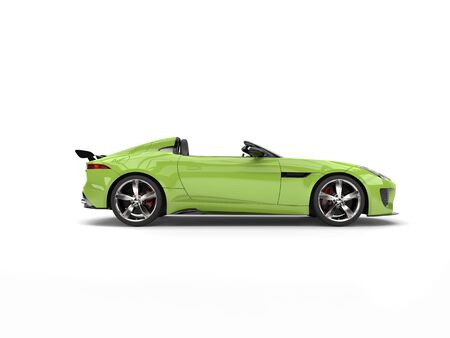 Fast modern crazy green convertible sports car - side view Stock Photo