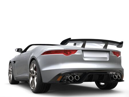 Modern silver luxury cabriolet sports car - rear wing view Stock Photo
