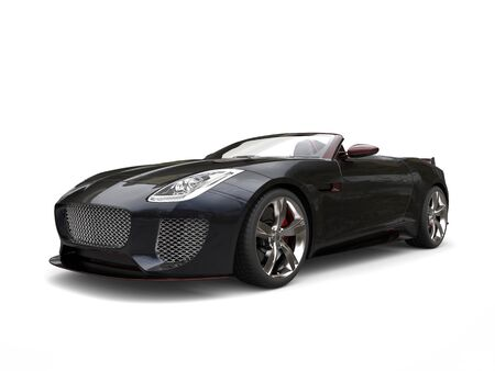 Black fast convertible sports car with redish highlight
