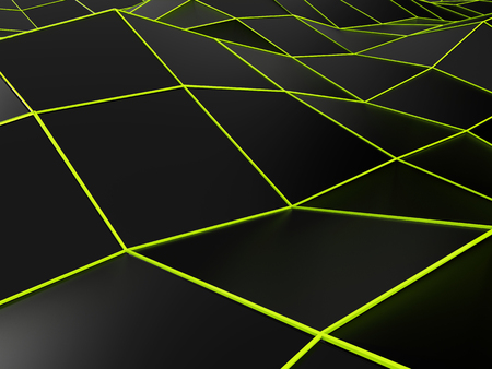 Abstract black backgorund with bright green lines Stock Photo