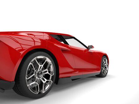 Red sports car - rear wheel closeup shot