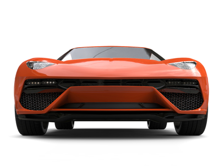 Orange modern sports car - low angle front view