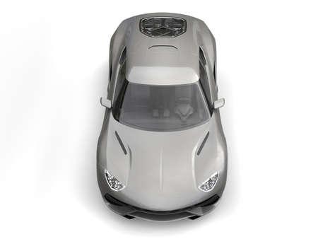 top down car: Light gray metallic super sports car - top down view
