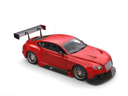 top down car: Scarlet red modern super sports car - studio shot - top down view