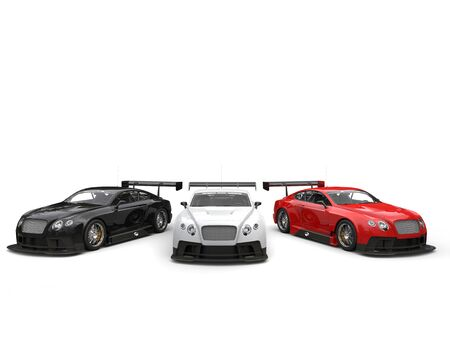 Moden black, red and white awesome race cars