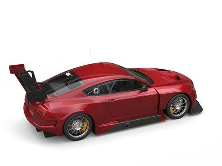 top veiw: Dark red metallic super car - top rear veiw