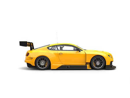 sedan: Awesome modern yellow race super car - side view Stock Photo
