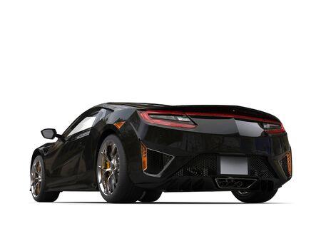 Jet black modern sport concept car - back view - low angle shot Banco de Imagens