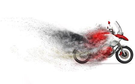 Cool red and white motorcycle - dust disintegration FX Stock Photo