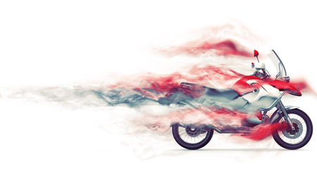 Super fast red and white motorcycle - smoke FX