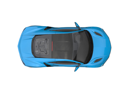 dodger: Dodger blue modern luxury sports car - top down view Stock Photo
