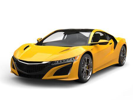 Heldere zon gele moderne sportwagen