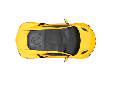 engine: Bright sun yellow modern sports car - top down view