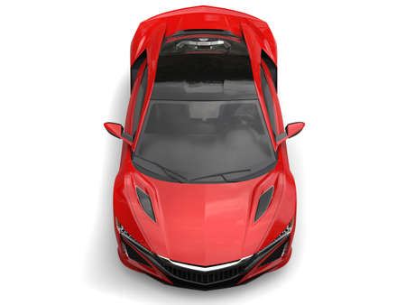 top down car: Crimson futuristic sports concept car - top down view