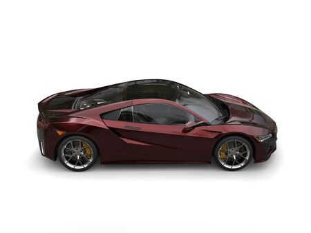top down car: Dark maroon sports concept car - top down side car Stock Photo