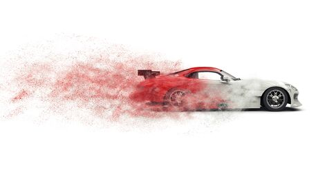 engine: Super sports car disintegrating into red and white dust Stock Photo