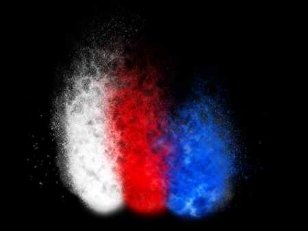 Red, white and blue particle explosion
