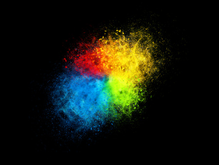 Four color dust particle explosion