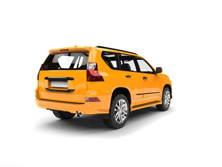 Golden yellow modern SUV - studio shot - back view