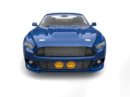 Navy blue urban muscle car - front view Stock Photo
