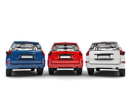 Blaue, rote und weiße moderne SUVs - hintere Ansicht Standard-Bild - 86004463