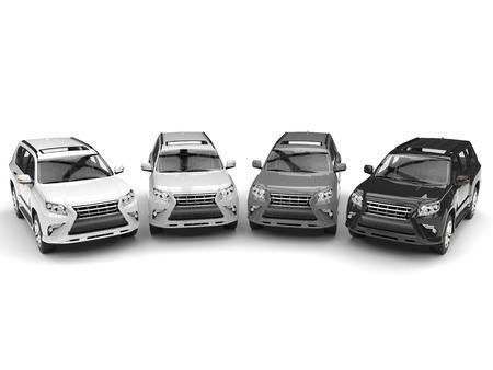 Moderne SUVs - von Weiß zu schwarz Standard-Bild - 83749727