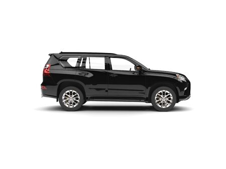 Jet black modern SUV - side view Stock Photo