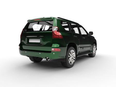 Beautiful modern metallic green SUV - tail view Stock Photo