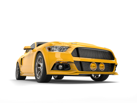 Lemon yellow modern urban muscle car - low angle front view