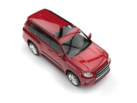 car isolated: Deep red modern SUV - top down view Stock Photo