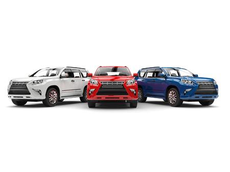Weiße, rote und blaue moderne SUVs - Vorderansicht Standard-Bild - 83758090