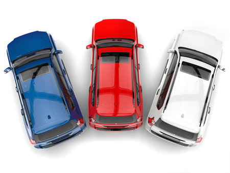 offroad car: Blue, red, and white modern SUVs - top down view