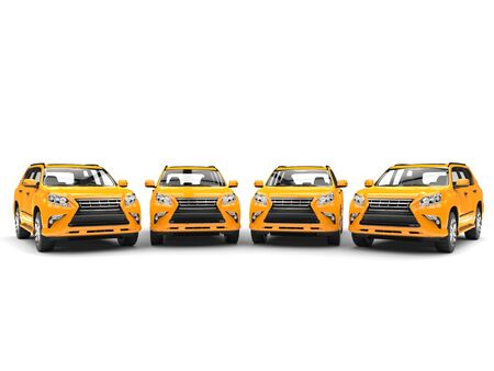 Row of bright yellow modern SUVs Stock Photo