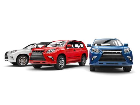 Blaue, rote und weiße moderne SUVs - Studioaufnahme Standard-Bild - 86004499