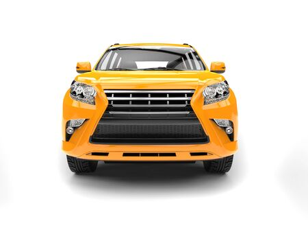 car isolated: Golden yellow modern SUV - front view Stock Photo