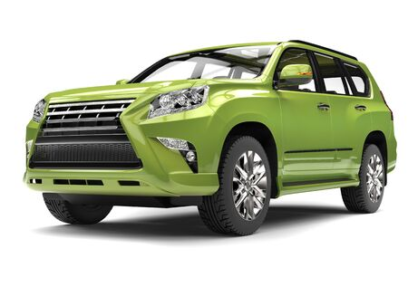 car isolated: Crazy metallic green modern SUV - studio shot closeup shot