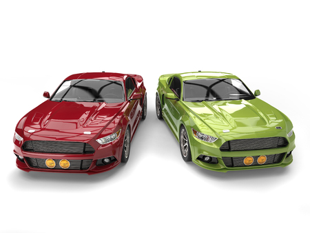 car isolated: Dark red and metallic green muscle cars - side by side - top view